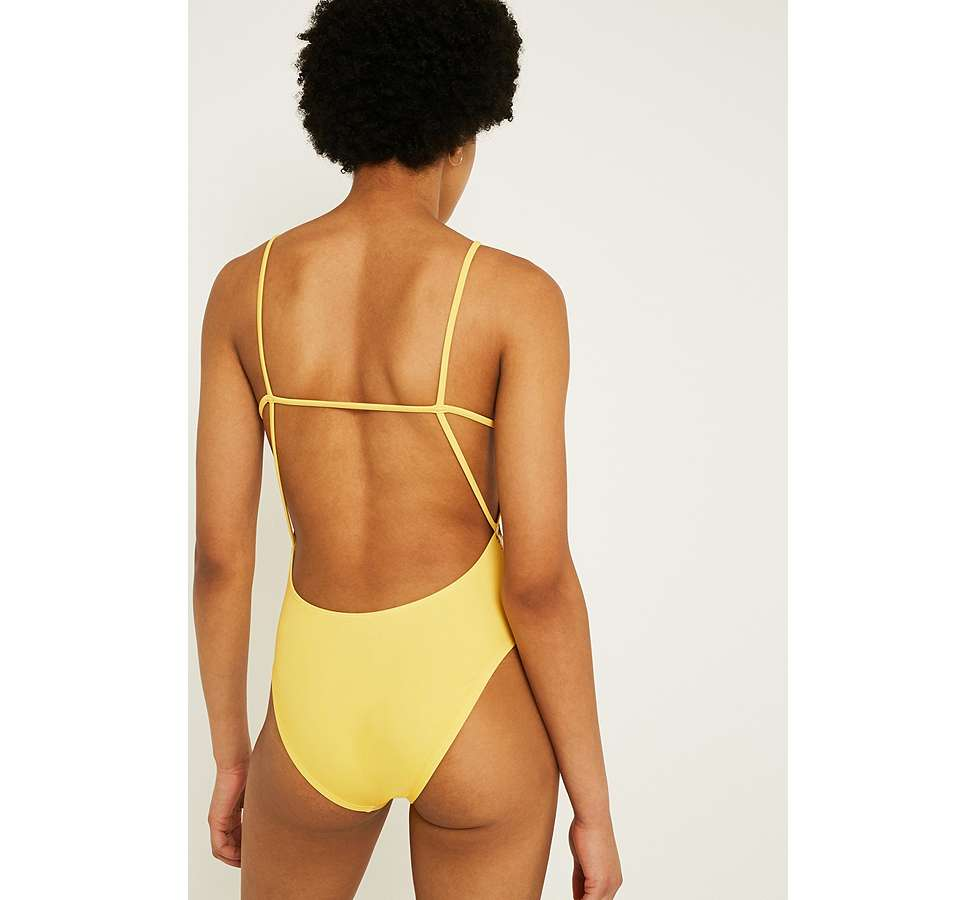 Slide View: 4: Out From Under Maria Printed Minimal Yellow One-Piece Swimsuit