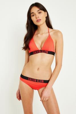 Calvin Klein - Calvin Klein Triangle Bikini Top, Coral