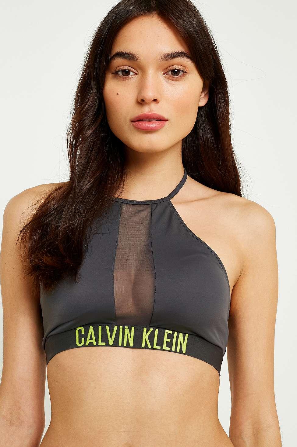 Calvin Klein Intense Power Mesh Crop Bikini Top, Black