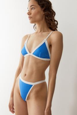 We Are We Wear UO Exclusive ECO High-Waisted Thong Bikini Bottoms - Blue XS at Urban Outfitters