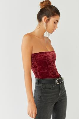 Out From Under - Out From Under MJ Velvet Tube Top Bodysuit, Red