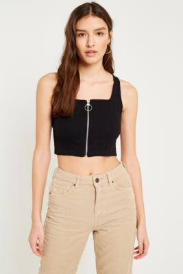Urban Outfitters - UO Zip-Front Ribbed Cropped Cami, Black