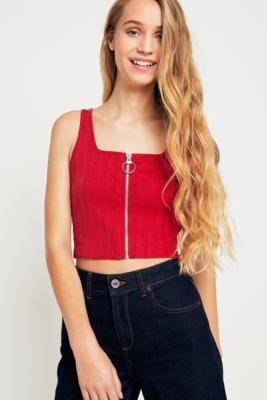 Urban Outfitters - UO Zip-Front Ribbed Cropped Cami, Red