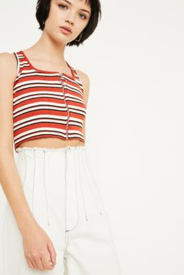 Uo Stripe Zip Front Cami by Urban Outfitters