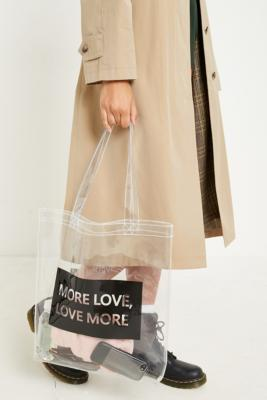 Urban Outfitters - More Love, Love More Clear Plastic Tote Bag, Clear
