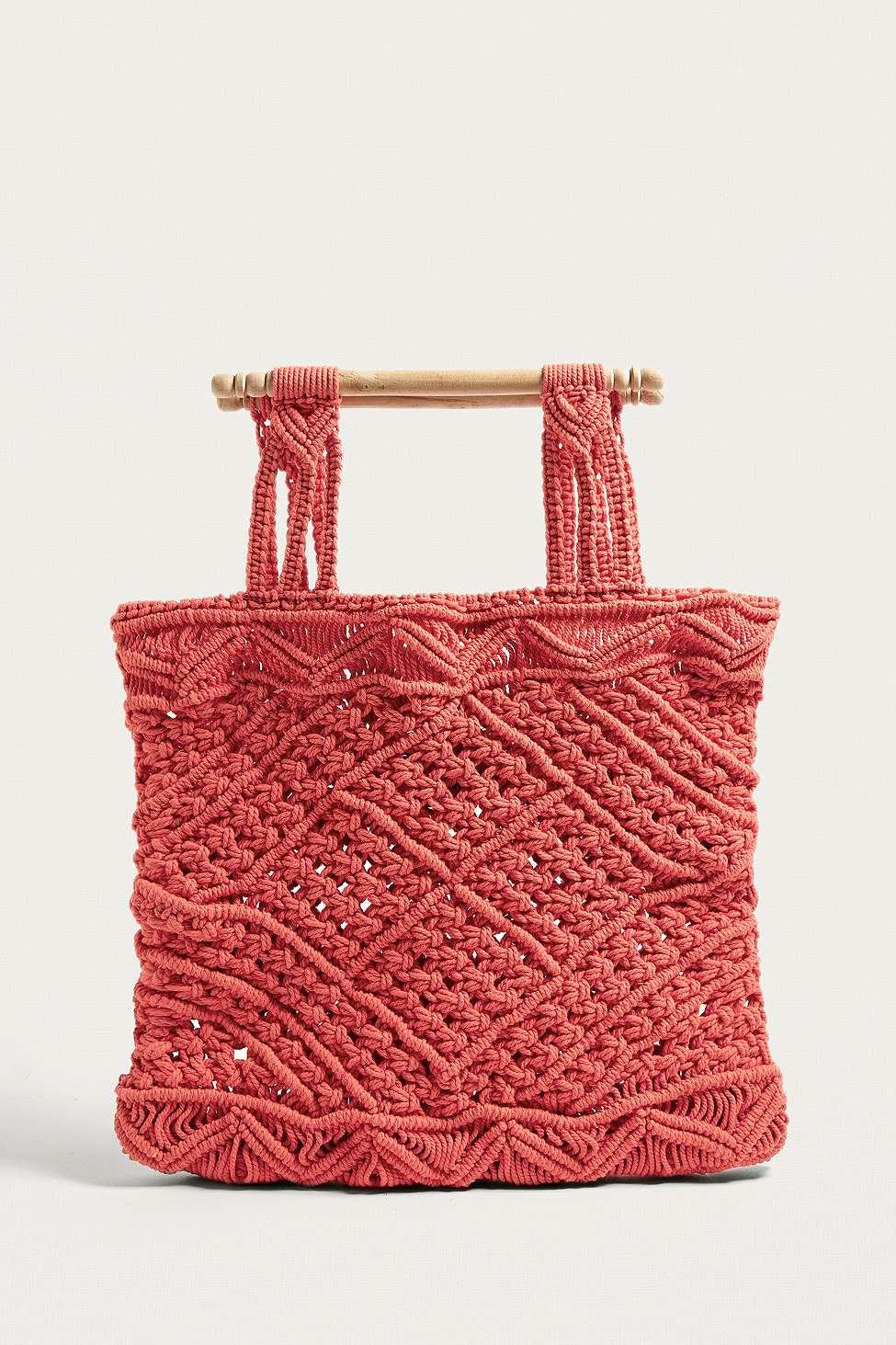 LF Markey Red Macrame Bag, Red