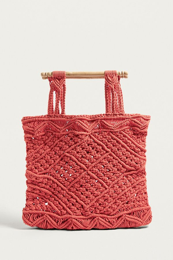 Slide View 1 Lf Markey Red Macramé Bag