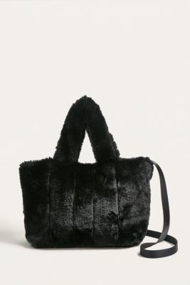 Urban Outfitters - UO Faux Fur Mini Crossbody Tote Bag, Black