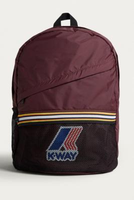 K-way - K-Way Burgundy Packable Backpack, red