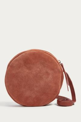 Urban Outfitters - UO Round Brown Suede Crossbody, Brown