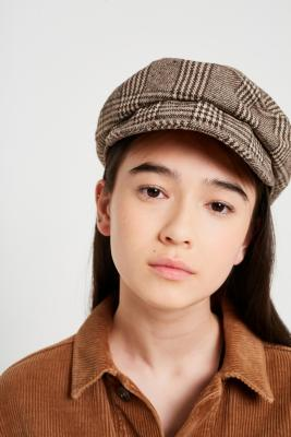 Urban Outfitters - Checked Baker Boy Hat, brown