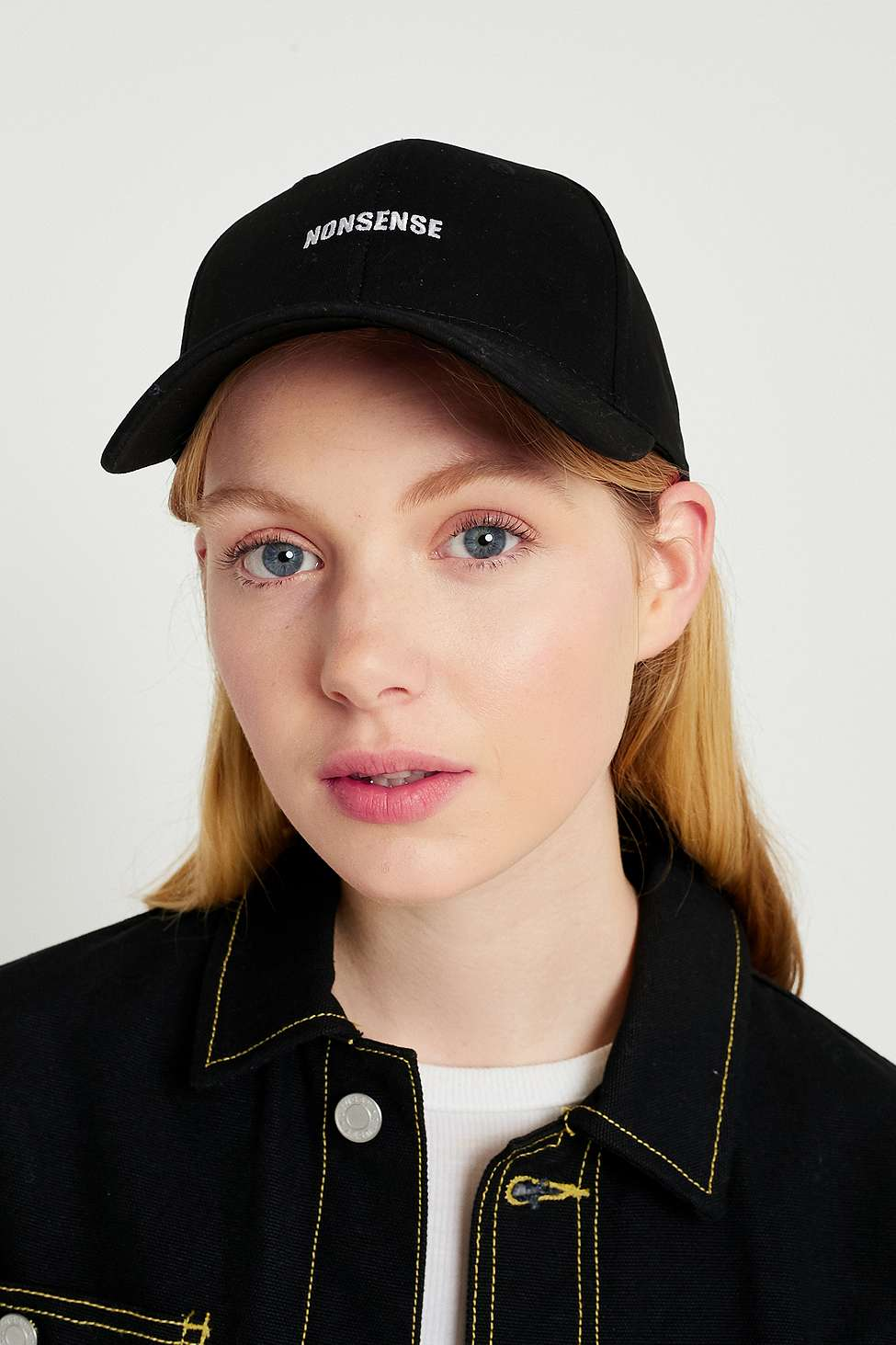 UO Embroidered Slogan Cap, Black