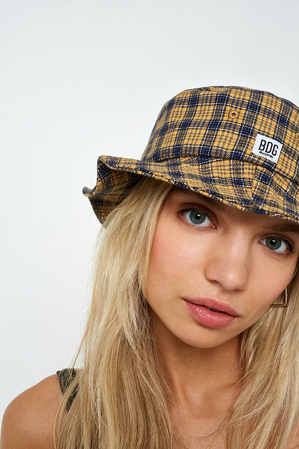 BDG Blue and Orange Checked Bucket Hat  1fe8c747cbe