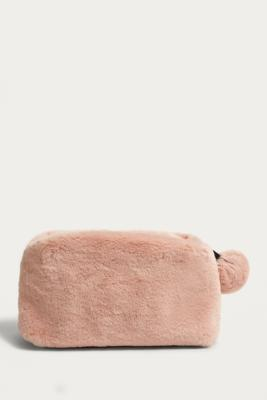 Urban Outfitters - Pink Faux Fur Pom Pom Make-Up Bag, Rose