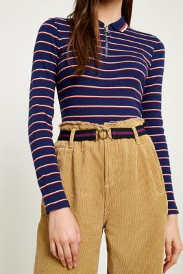 Urban Outfitters - Striped Elastic Clip Belt, Blue