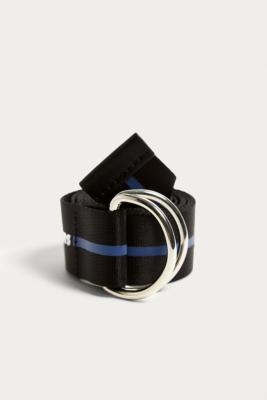iets frans... - iets frans…  Striped Logo Nylon D-Ring Belt, Blue