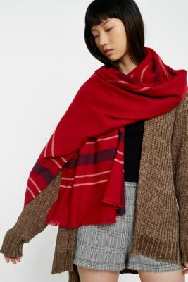 Urban Outfitters - Red Checked Scarf, Grey