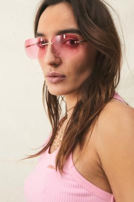 UO - Lunettes de soleil rectangulaires avec strass - Urban Outfitters - Modalova