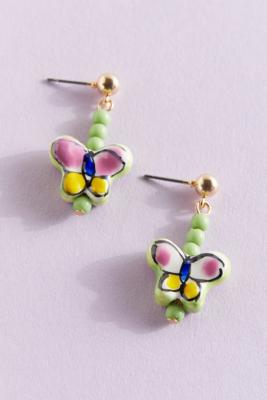 Green Pottery Butterfly Drop Earrings - Assorted ALL at Urban Outfitters