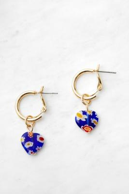 Bold Resin Heart Hoop Earrings - Blue ALL at Urban Outfitters