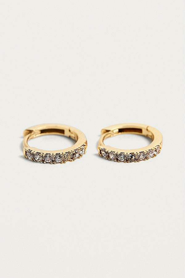 Slide View 1 Estella Bartlett Rhinestone Gold Plated Hoop Earrings