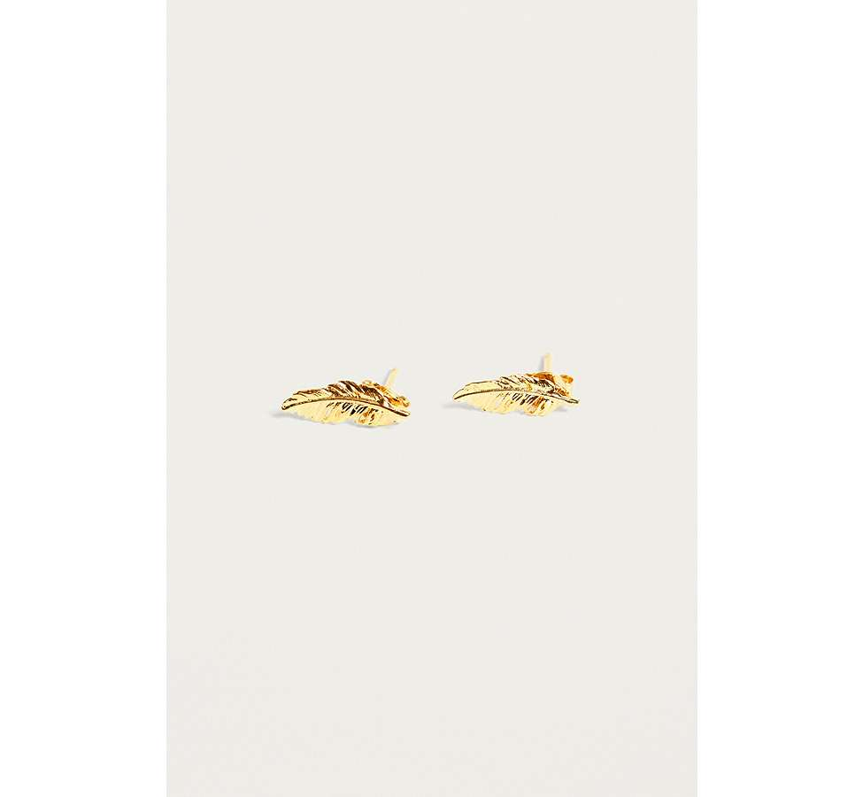 Slide View: 1: Estella Bartlett Gold-Plated Feather Stud Earrings