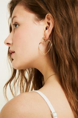 Gold Double Heart Drop Earrings by Urban Outfitters