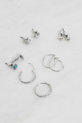 Heart Stud & Hoop Earrings Pack - Silver ALL at Urban Outfitters