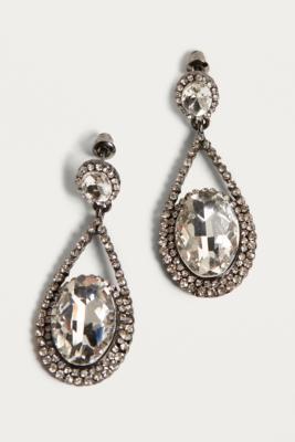 Urban Outfitters - Rhinestone Teardrop Earrings, Silver
