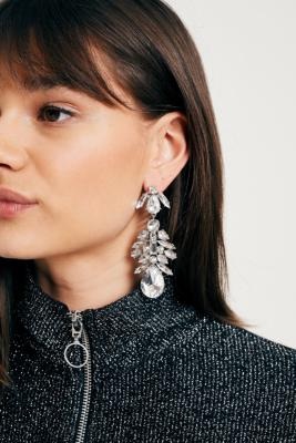 Urban Outfitters - Large Rhinestone Cluster Drop Earrings, Silver