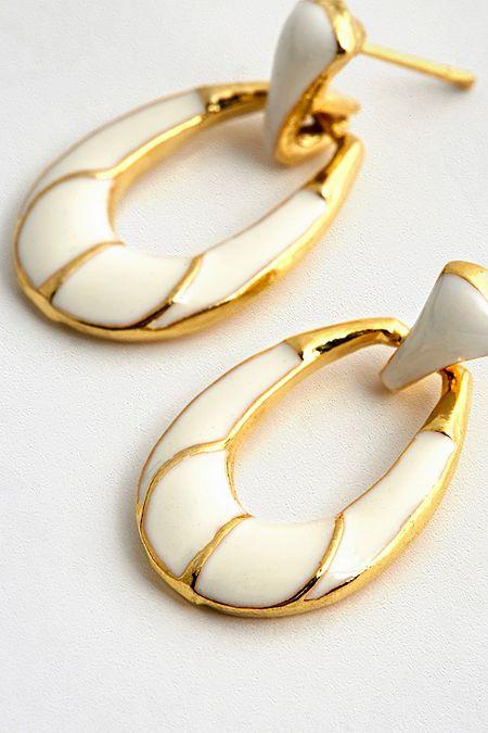 Susan Caplan Vintage White Enamel Drop Hoop Earrings