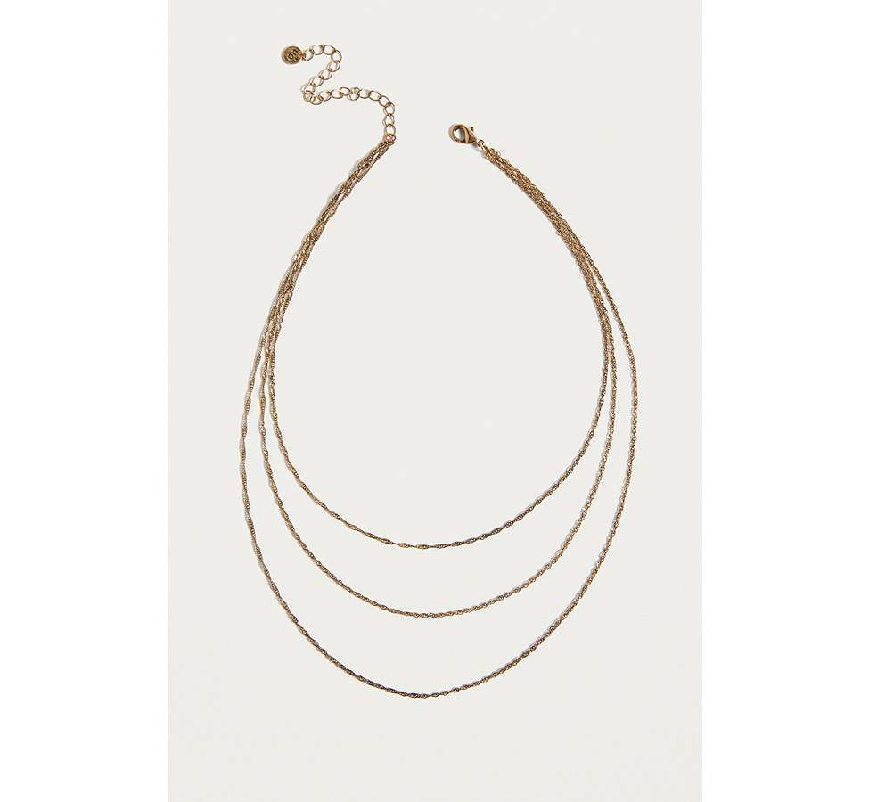 Slide View: 1: Vintage Inspired Delicate Rope Chain Layered Necklace