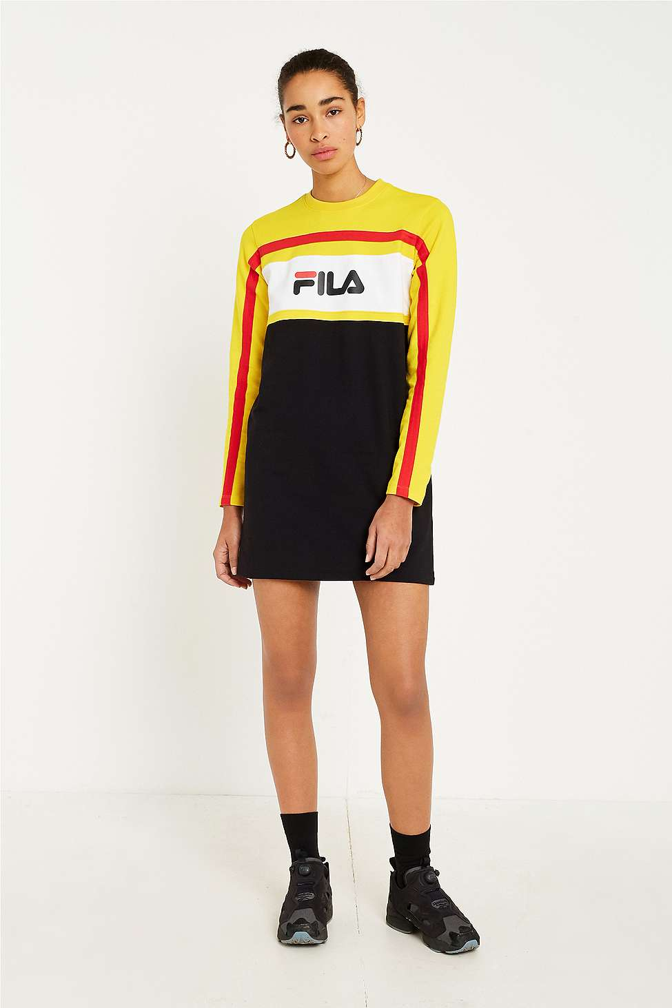 FILA Belle Logo Long Sleeve Dress, Black