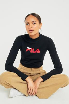 Fila - FILA Kelly Banded Waist Logo Long Sleeve T-Shirt, Black