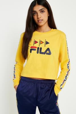 Fila - FILA Sadie Yellow Logo Long Sleeve T-Shirt, Yellow