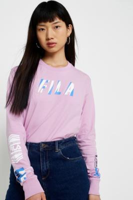 Fila - FILA Uma Purple Logo Long Sleeve T-Shirt, Pink