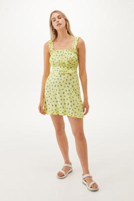 Faithfull The Brand Midsummer Mini Dress - Green XS at Urban Outfitters