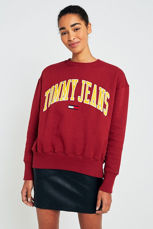 3e75d10b11fa Tommy Jeans Collegiate Wine Logo Sweatshirt   Urban Outfitters UK