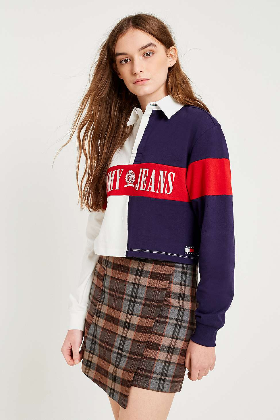 Tommy Jeans Cropped Rugby Shirt, White