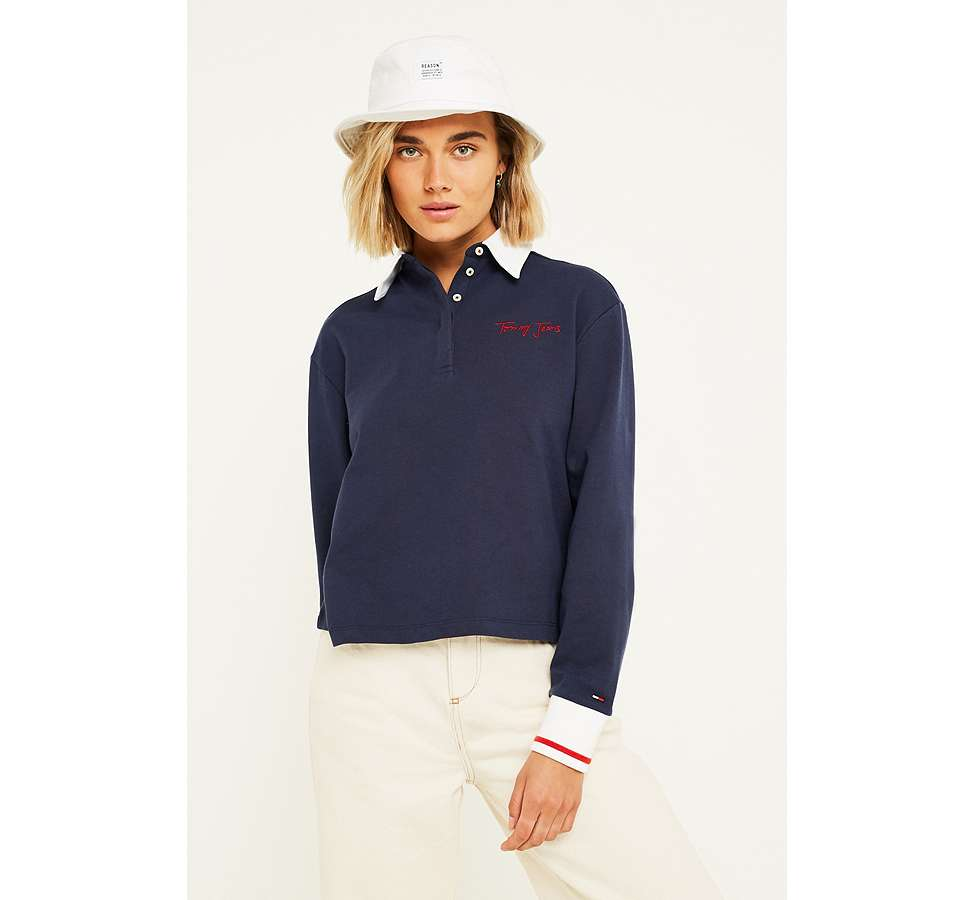 Slide View: 1: Tommy Jeans Navy Long-Sleeve Polo Shirt