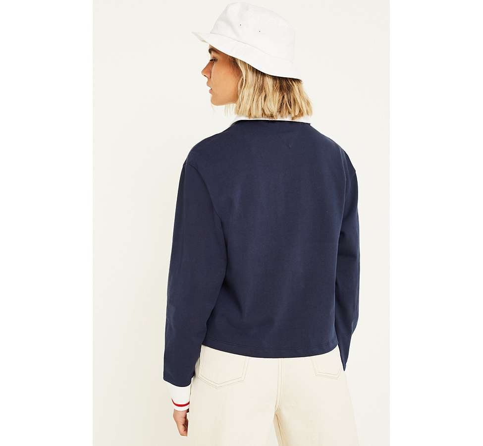 Slide View: 3: Tommy Jeans Navy Long-Sleeve Polo Shirt