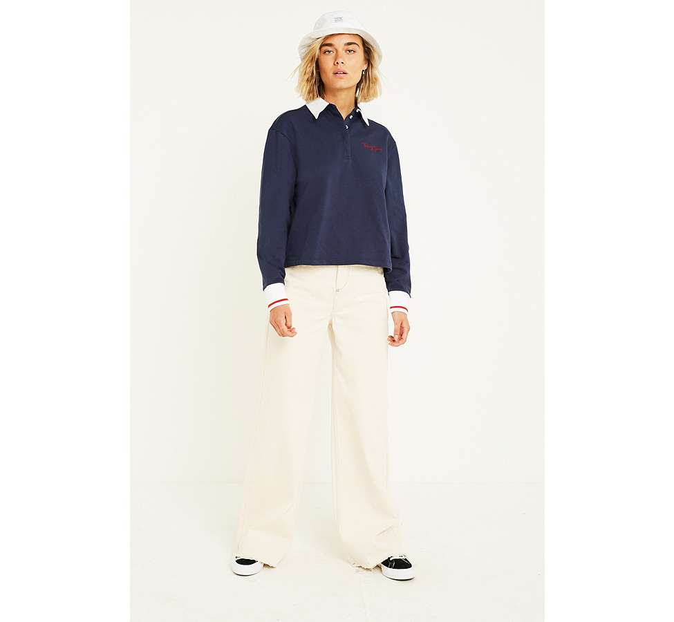 Slide View: 4: Tommy Jeans Navy Long-Sleeve Polo Shirt