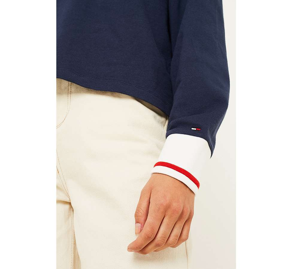 Slide View: 5: Tommy Jeans Navy Long-Sleeve Polo Shirt