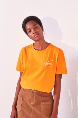Tommy Jeans Orange Signature Logo Text T Shirt by Tommy Jeans