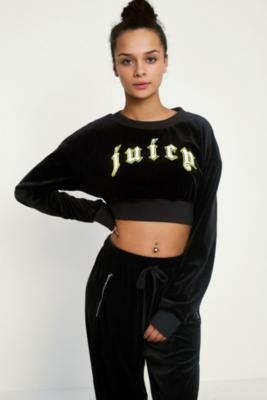 Juicy Couture - Juicy Couture X VFILES Black Velour Crew Neck Sweatshirt, black