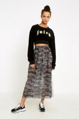 Juicy Couture - Juicy Couture X VFILES Black and White Tulle Printed Skirt, black