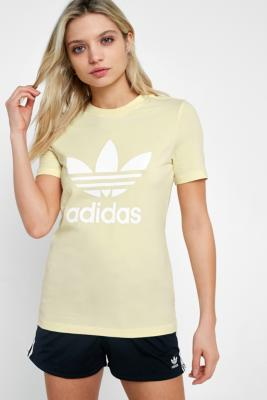Adidas - adidas Originals Pastel Yellow Trefoil T-Shirt, Yellow