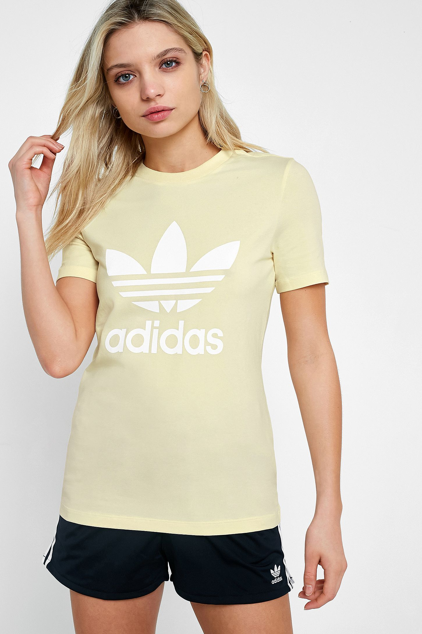 Adidas Originals Pastel Yellow Trefoil T Shirt Urban Outfitters Uk