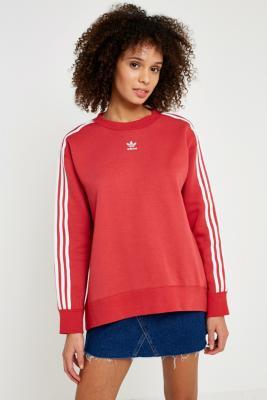 Adidas - adidas Originals Red 3-Stripe Sweatshirt, Red