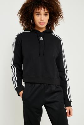 Adidas - Adidas Originals 3-Stripe Cropped Hoodie, Black